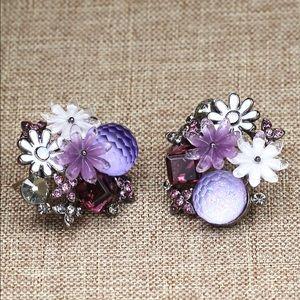 Lovely pueple crystal flower earrings